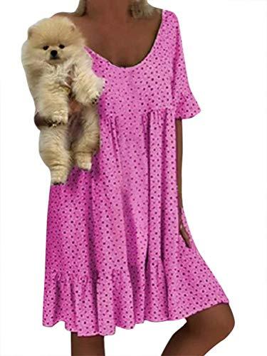 Minetom Mujer Vestido Bohemio Corto Verano Casual V-Cuello Mangas Cortas Chic Boho Pareos de Noche Playa Vacaciones