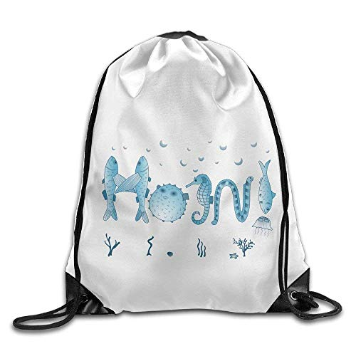 HiExotic Eco-Friendly Turnbeutel Hipster Women Men Sport Gym Sack Drawstring Backpack Tote Sack Bag Bag (Blue Cartoon Marine Life)