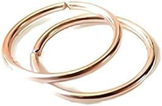 24G 22G 20G 18G 16G 14K Rose Gold Filled Seamless Sleeper Hoop Earrings 6MM-12MM