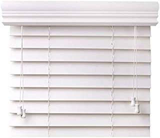 "CBC - Custom 2"" Faux Wood Blinds White w/Crown Valance - Width: 54.125 (54-1/8) - 60"" by Height: x 20-36"" Size Window Blind"