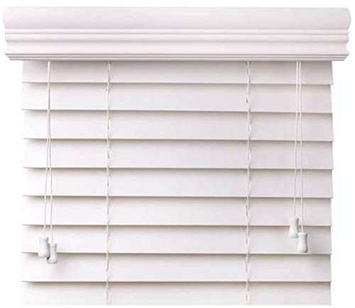 CBC - Custom 2' Faux Wood Blinds White w/Crown Valance - Width: 30.125 (30-1/8) - 36' by Height: x 37-48' Size Window Blind