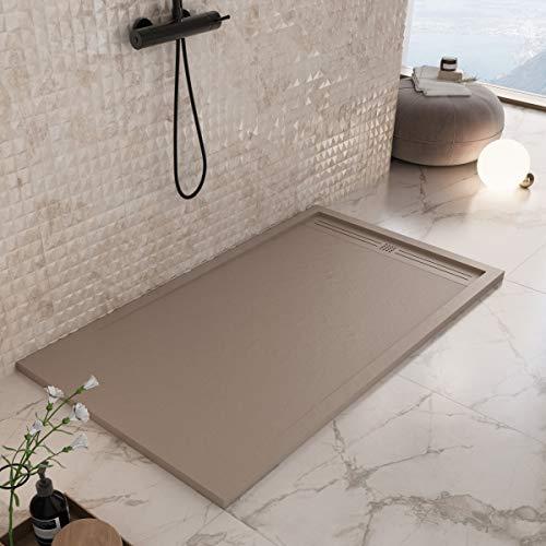 Luminosa ArredoBagno Plato de ducha Marmoresina de 70 x 130 cm, efecto piedra antideslizante con GELCOAT, modelo Berlín, color Moka Cappuccino - Rejilla y desagüe incluidos