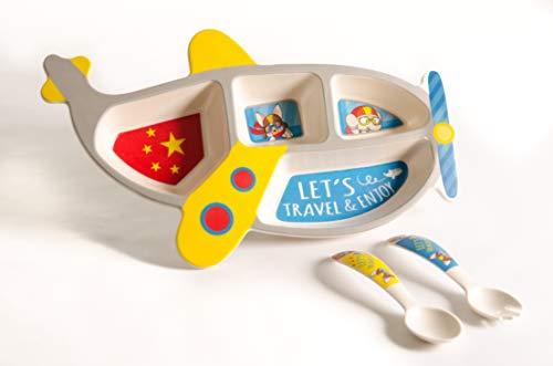 Set vajilla Infantil de bambú sin BPA. Incluye 3 piezas : Cubertería...