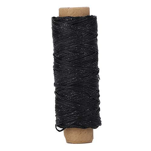 Hilo de coser plano encerado, 150D / 16 50m Zapatos artesanales de cuero Repare a mano la cuerda de costura para la mano y la máquina de costura bricolaje artesanal (negro)