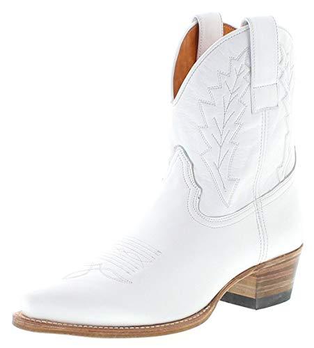 Sendra Boots Damen Cowboy Stiefel 16367 Lederstiefel Westernstiefelette Weiss 43 EU