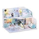 Miniatura 3D Invernadero Mini habitación Kits de artesanía DIY Casa de muñecas con Movimiento de música y Cubierta de Polvo Casa Azul Casa de Loft Creativo Adecuado para cumpleaños, San Valentín