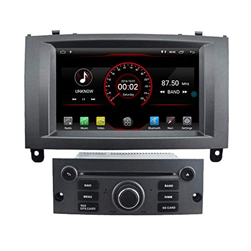 JFFFFWI Android 10 Car DVD Player GPS Stereo Head Unit Navi Radio Multimedia WiFi para Ford Peugeot 407 2004 2005 2006 2007 2008 2009 2010 Silver Steering Wheel Control