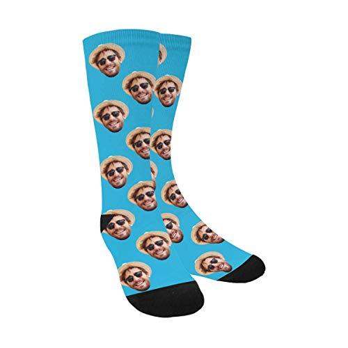 Custom Print Your Photo Pet Face Socks, Personalized Light Blue Crew Socks for Men Women