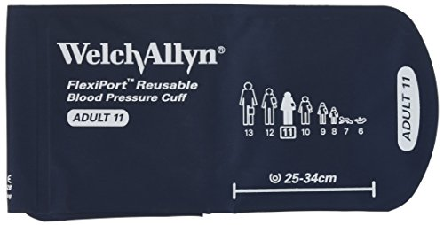 Welch Allyn REUSE-11-2MQ FlexiPort Reusable Blood Pressure Cuffs with Two-Tube Locking-Type Connectors, Adult, Size 11 (Welch Allyn 300 Series)