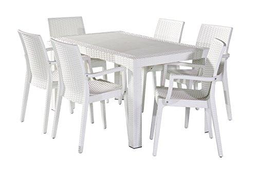 Dimaplast2000 AMZ001 Set Garden Top Tavolo E 6 Poltrone In Resina Effetto Rattan Da Giardino, Bianco, 140X80X72 Cm