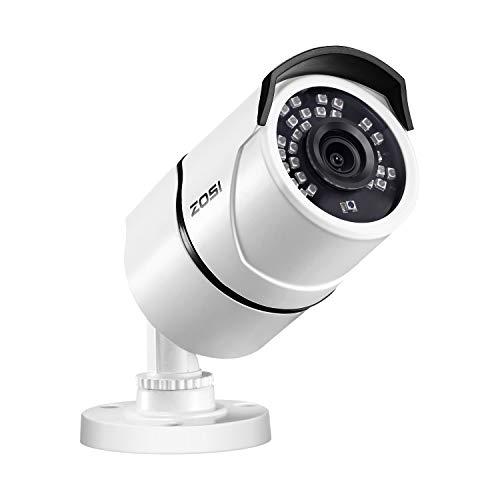 "ZOSI 1/3"" CCTV Bullet Security Camera 1000TVL High Resolution Day Night Vision Weatherproof Surveillance Cameras- 36PCS Infrared LEDs, 100ft(30m) IR Distance, Aluminum Metal Housing white"