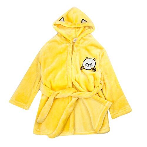 DWQuee ❤️ Baby Flanell Pyjama, Winter Kinder Jungen Mädchen Feste Kapuzen Flanell Bademäntel Warme Nachthemd Nachtwäsche (1-6 Jahre)