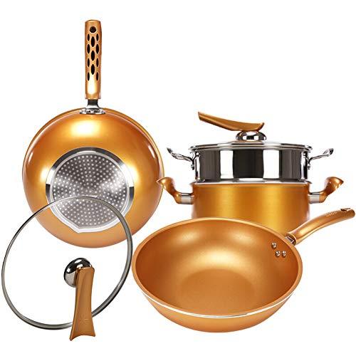 Roestvrij stalen pot Set 3-delige Wok 26cm Koekenpan 24CM met Steamer Toepasbaar op diverse kachels Uniform Warmtegeleiding Gemakkelijk te verwarmen en energie te besparen