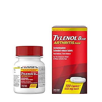 100-count bottle of Tylenol 8 Hour Arthritis Pain Extended-Release Caplets with acetaminophen to provide fast-acting, temporary relief of minor arthritis and joint pain, as well as other aches and pains Each extended-release tablet contains 650 mg of...