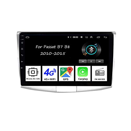 Autoradio Mit Navi Apple Carplay 9 Inch Pantalla Tactil para Coche Reproductor para Passat B7 B8 2010-2015 Radio del Coche Car Player Conecta Y Reproduce Coche Audio USB Cámara Trasera