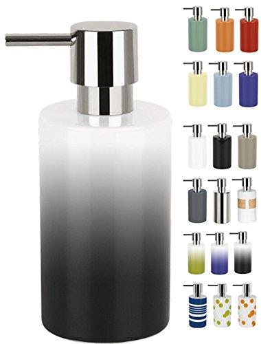 Spirella Seifenspender Tube | mit Pumpe | Flüssigseifen-Spender | Porzellan | 300ml | Langliebig und Robust | Grau/Weiß
