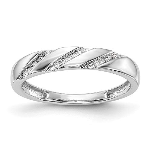 14k White Gold Complete Diamond Trio Ladies Wedding Band Ring, Size 54