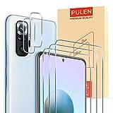PULEN [3+2 Pack] para Xiaomi Redmi Note 10 Pro/Note 10 Pro Max Protector de Pantalla Cristal Templado*3 + Protector de Lente de Cámara*2 [Anti Arañazos] 9H Dureza Lens Film Screen Protector