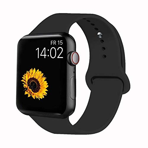VATI Sport Band Compatible for Apple Watch Band 42mm 44mm, Soft Silicone Sport Strap Replacement Bands Compatible with 2019 Apple Watch Series 5, iWatch 4/3/2/1, 42MM 44MM M/L (Black)
