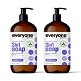 Everyone 3-in-1 Soap, Body Wash, Bubble Bath, Shampoo, 32 Ounce (Pack of 2), Lavender and Aloe, Coconut Cleanser with Organic Plant Extracts and Pure Essential Oils (Packaging May Vary)