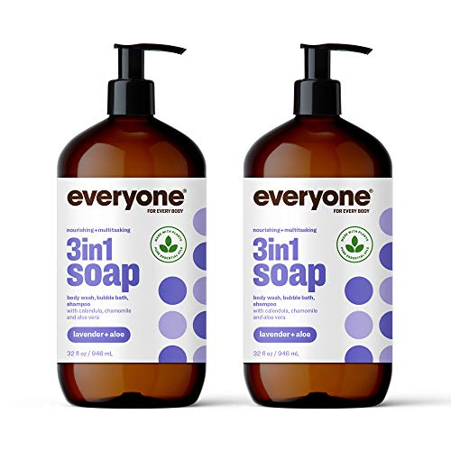 Everyone 3-in-1 Soap: Shampoo,Body Wash, Bubble Bath, and Shampoo, Lavender and Aloe, 32 Ounce, 2 Count- Packaging May Vary