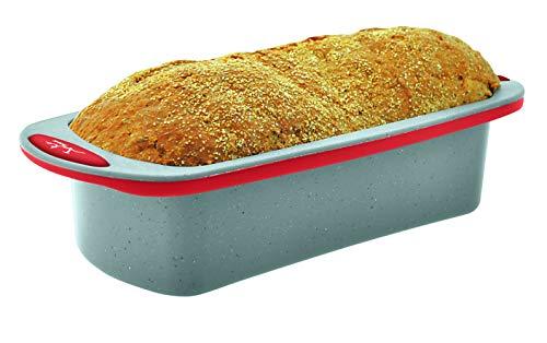 Jata Hogar Molde para repostería y Cocina, Silicona, modelo MC63, Gris y Rojo, 24x10x6.5 cm