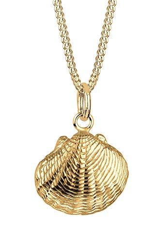Elli Damen Echtschmuck Halskette Anhänger Muschel Meer Maritim in 925 Sterling Silber vergoldet Länge 45 cm