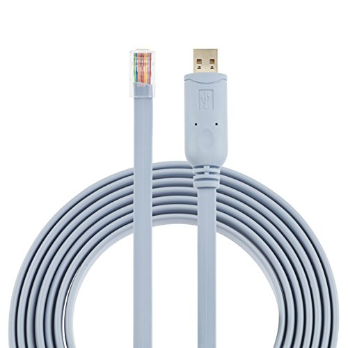 Cisco Console Cable USB to RJ45-1.8M (6 ft) FTDI Chip Replaces USB to DB9 + 72-3383-01 compatible with Windows, Vista, MAC, Linux RS232