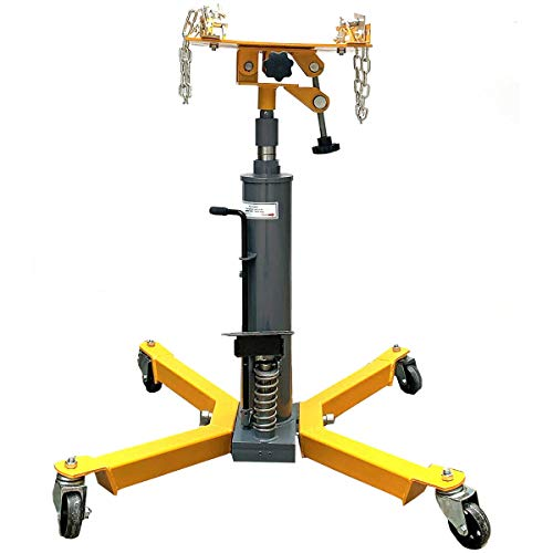 SUDEG Transmission Jack Lift with Adjustable Height, 2 Stage Hydraulic Jack, 1500LBS with Pedal 360° Swivel Wheel Lift Hoist Used for Large Vehicles Such As Trucks