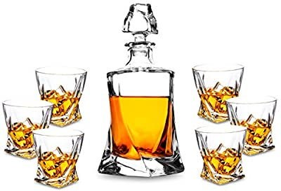 Premium Crystal Whiskey Decanter Set, KANARS Hand Made Liquor Decanter with 6 Old Fashioned Glasses for Scotch, Bourbon or Whisky, Unique Elegant Gift Box, 7-Piece