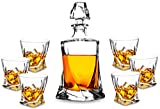 Premium Crystal Whiskey Decanter Set, KANARS Hand Made Liquor Decanter with 6 Twist Old Fashioned Glasses for...