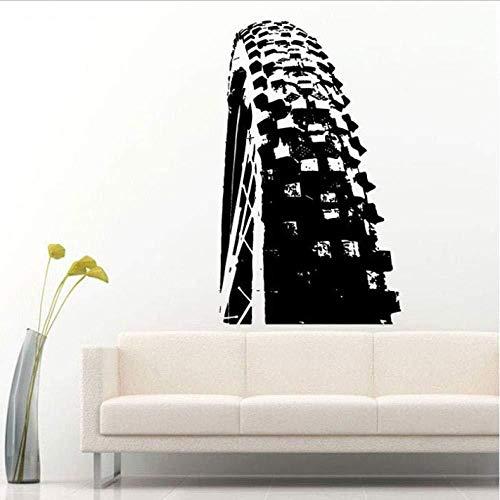 TJJF etiqueta de la pared Etiqueta de la pared Ciclista en una bicicleta de montaña Bicicleta Rueda deportiva Neumático Pisada Calcomanía de pared Etiqueta de vinilo Mural Decoración de la