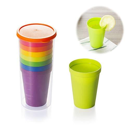 Bicchieri in Plastica Riutilizzabili Colorati con Bicchiere Portaoggetti 500 ml Tazza da Viaggio Impilabili per Viaggi per Viaggi di Famiglia Bevande Feste Escursioni Matrimoni 200 ml 7 Pezzi
