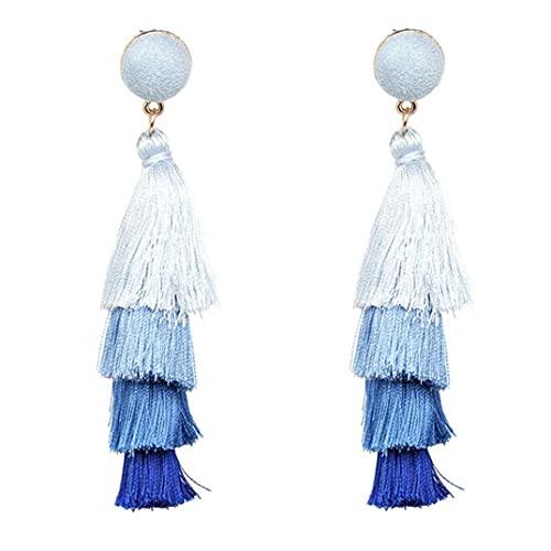 Liadance Retro Vintage Stud Pendientes Bohemia Multi-Capa Tassel Patrones Geométricos Pendientes Exquisitos Joyería para Mujeres Niñas Azul