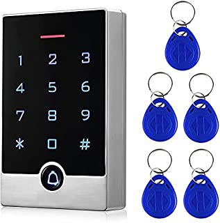 Security Door Access Control Keypad, RFID Keypad with ID Key Fobs, Stand-Alone Keypad, Door Lock Keypad Controller, for Ga...