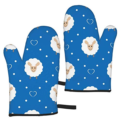 XCNGG Cute Sheep and Hearts Oven Mitts Fashion Soft Non-Slip Heat Resistant Safe Cooking Baking Grilling BBQ Party Kitchen Microwave Oven Funny Home