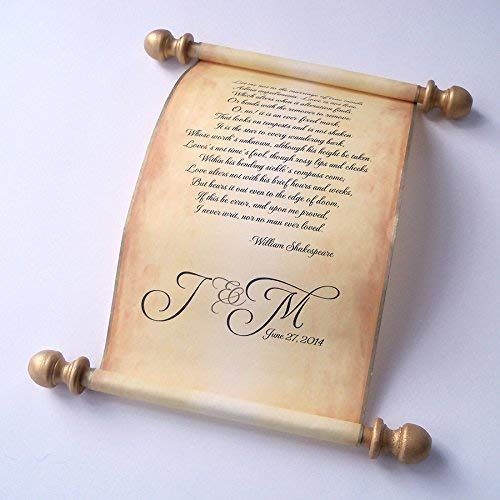 """Wedding vows scroll, love letter, secret message scroll, anniversary gift on aged paper, 5x13"""" paper, custom printed"""