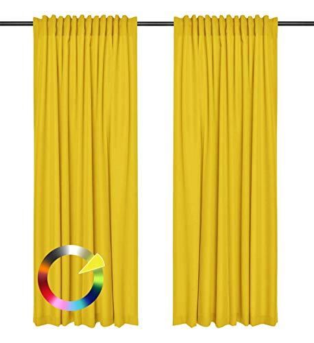 Rollmayer Vorhänge mit Tunnelband Kollektion Vivid (Gelb 5, 135x240 cm - BxH) Blickdicht Uni einfarbig Gardinen Schal für Schlafzimmer Kinderzimmer Wohnzimmer