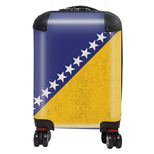 Vlag Israel / Bosnië / Israel vlag Zuid-Europa koffer kinderen cabine met TSA Lock 4 draaibare wielen bagage tas 46 cm 29 ltr