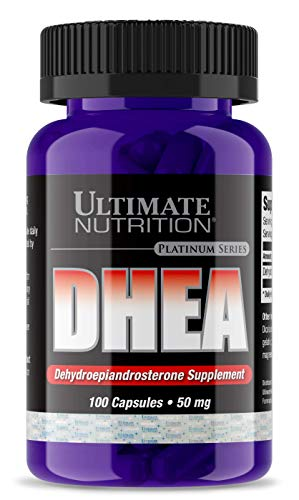 Ultimate Nutrition Pure 50mg DHEA Supplement - Max Strenth Testosterone, Libido and Metabolism Booster - Balance Hormones and Supports Lean Muscle Growth, 100 Capsules
