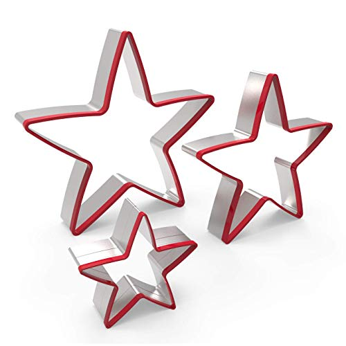 FASAKA 3pcs Stainless Steel Star Cookie Cutters Set ,Food Grade Large & Mini Star Cookie Cutter for Pressing cookie ,sandwich and bread