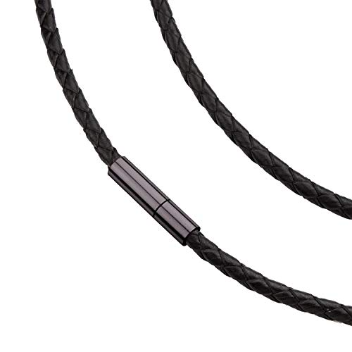 555Jewelry Men Women Unisex Stainless Steel Braided Rope Genuine Leather Twist Cord Wrap Around Vintage Magnetic Clasp Single Lock Fine Fashion Jewelry Accessories Necklace, Black 18 Inch