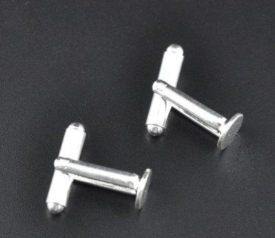 CKB LTD Pack of 50 (25 Pairs) - 8mm Plate - Blank Cufflink Backs Round Bar with U Arm CKB09444