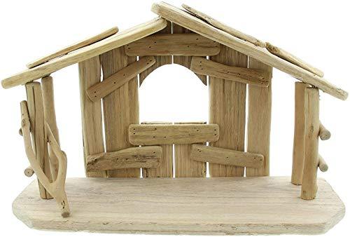 Dekoleidenschaft Weihnachtskrippe aus Treibholz, 40 x 15 x 25 cm, Krippenstall aus Holz, Weihnachtsdekoraktion
