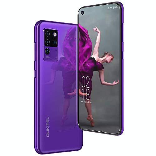 Moviles Libres,Oukitel C21 4G Smartphone,Helio P60, 6.4 pulgadas FHD + Pantalla 16MP Cámara trasera cuádruple ,4GB+64GB batería 4000mAH ,telefono movil Android 10 con huella digital Face ID, Morado