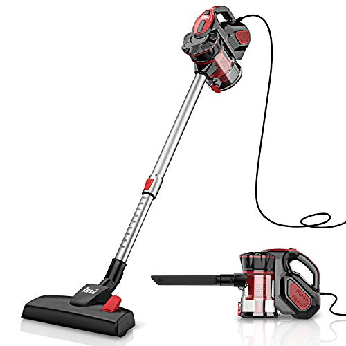 INSE Vacuum Cleaner Corded Stick with Retractable Wand, 18KPa Powerful Suction, Handheld Vac for Hardwood Floor - I5