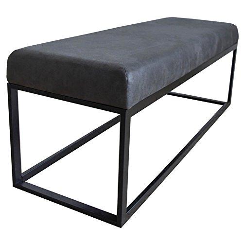 Damiware Couchy Sitzhocker Sitzbank | Esszimmer, Küche, Wohnzimmer | 121 cm | Mikrofaser Leder und Metallbeine (Stone)