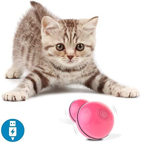 othulp Katzenspielzeug Interaktives Katzenspielzeug Interaktives Katzenspielzeug Ball Mit LED-Licht USB Wiederaufladbares Katzenspielzeug pink