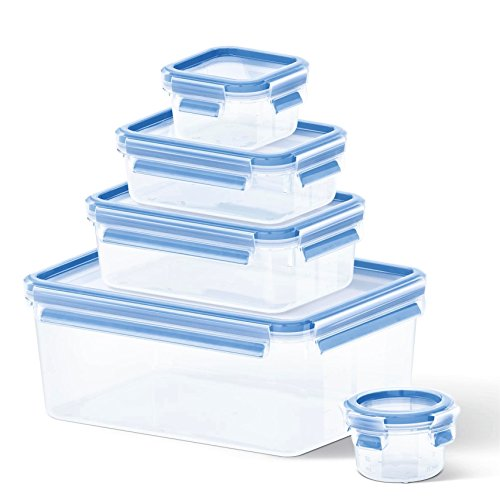 Tefal Master Frischhaltedose für Lebensmittel, rechteckig, transparent/blau, Plastik, transparent/blau, 5-Piece Set