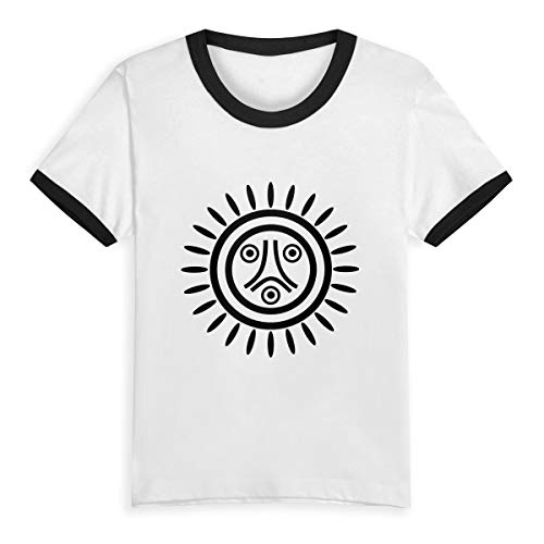 Taino Flag Boys Girl Child Short Sleeve T Shirt Sports Contrast Tees(5/6T,Black)